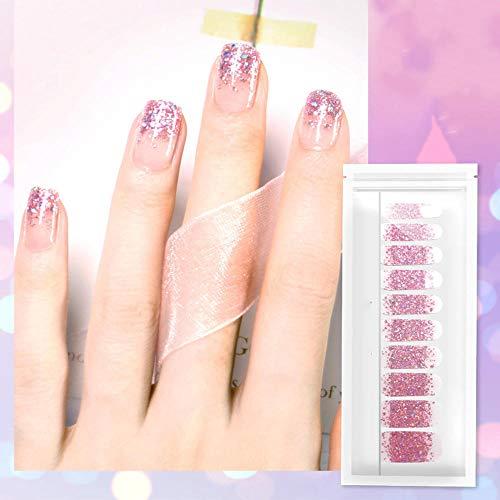 Nail Polish Stickers Full Wraps Auto-Adhésif 3D Imperméable Durable Nail Art Decals Strips Gradient Glittery Manucure Kits Convient Aux Femmes Filles