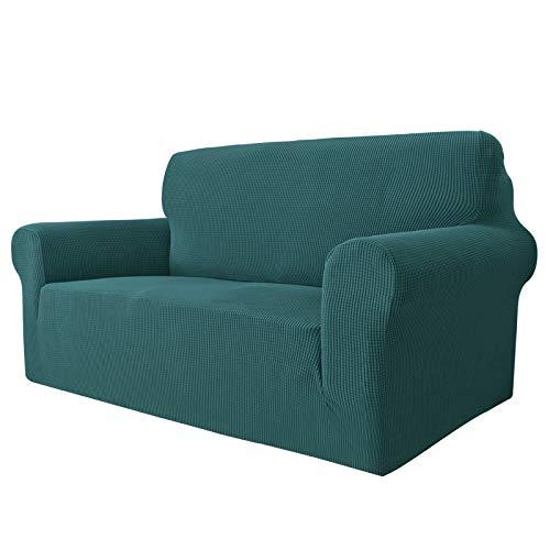 MAXIJIN Super Stretch Couch Bezug für 2-Sitzer Couch, 1-teilige Universal Love Sitzbezüge Jacquard Spandex Sofa Protector Hunde Haustierfreundliche Loveseat Schonbezug (2 Sitzer, Schwarzgrün)