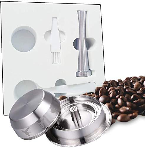 MEJAJU Cápsulas de café Taza de acero inoxidable, Cápsulas recargables reutilizables para, Compatible con máquinas Nespresso Cepillo y cuchara para taza de café gratis (Big)