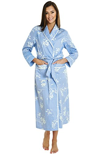 Alexander Del Rossa Women's Lightweight Cotton Kimono Robe, Summer Bathrobe, Small Blue with White Flowers (A0515P82SM)