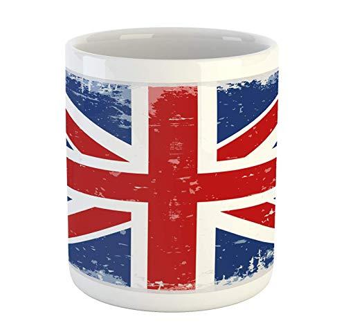 N\A Taza británica, Bandera Abstracta de Inglaterra y Londres con Estampado de Estilo Vintage Antiguo con Estampado de Sombras, Taza de café de cerámica para Bebidas de té de Agua, 11 oz, Azul Marino