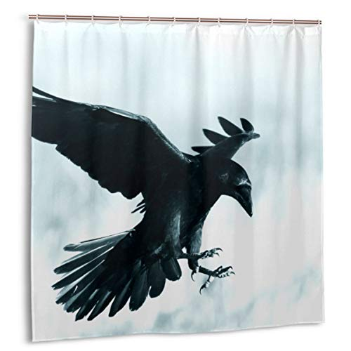 Duschvorhang, Halloween Gothic Mittelalterlicher Schwarzer Rabenvogel im Mondschein Badvorhang Set mit Haken