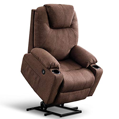 Mcombo Oversized Power Lift Recliner Chair with Massage and Heat for Elderly Big and Tall People, 3 Positions, 2 Side Pockets and Cup Holders, USB Ports, Fabric 7517 (Large, Coffee)