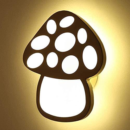 Lámpara de pared Cubierta de la lámpara LED de pared linda forma de hongo decoración moderna minimalista creativo acrílico Children Pared luz del dormitorio de noche simple de la historieta del apliqu