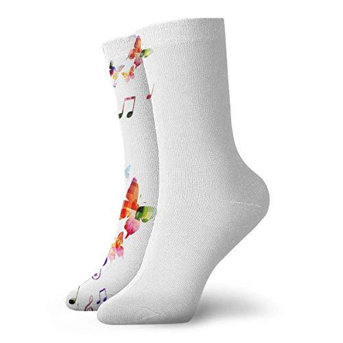 XCNGG Calcetines Fondo colorido con mariposas Calcetines deportivos premium para hombres Calcetines de trabajo informal con cojín grueso