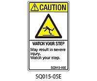 セフティデンキ SQシリーズ 注意ラベル 縦型 英文 足下注意 5シート × 5枚 SQ015-05E