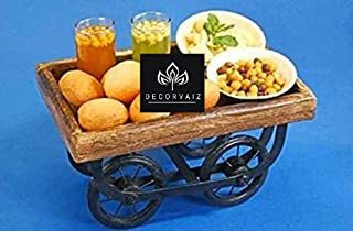 DECORVAIZ Handicrafted Wooden Serving Trays and Platters, Kart, Redaa with Moveable Wheels for Serving Tea, Snacks