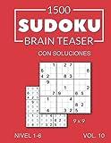 1500 Sudoku Brain Teaser 9x9 con soluciones Nivel 1-6 Vol. 10