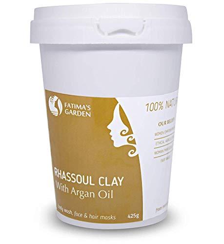 Arcilla Rhassoul de Fatima's Garden, arcilla Ghassoul marroquí enriquecida con aceite de argán y eucalipto para rostro, cabello, y hammam, propiedades suavizantes y purificantes-425gr