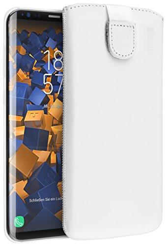 mumbi Echt Ledertasche kompatibel mit Samsung Galaxy A3 2017 Hülle Leder Tasche Case Wallet, Weiss