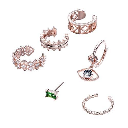 6 Piezas Ear Cuff Pendiente Set Mujer Plata/Oro Rosa Cobre Non Piercing Cartílago Clip On Wrap Oreja Stud
