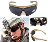 ANSI Z87.1 Combat Tactical Military Ballistic EYE SHIELD Shooting High Impact Resistance Sunglasses 3 Replacement lenses Eye Prescription Glass Holder (Khaki)