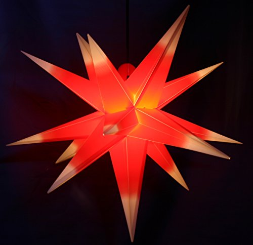 Außenstern Stern wetterfest Rot mit weißen Spitzen Kunststoff außen Adventsstern Weihnachtsstern