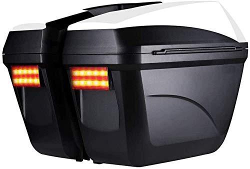 Motocicleta de una silla caja, a prueba de agua de viaje maletero con luces LED y la manija de gran capacidad del tronco motocicleta set-top box, Color: Negro Prohibido fumar tronco portador de montaj