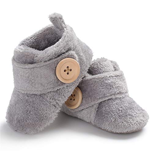 BENHERO Baby Newborn Crib Cozy Fleece Winter Booties Non Skid Soft Sole Shoes Warm Winter Socks (6-12 Months M US Infant), A-Grey)