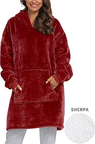 Manta polar con mangas y bolsillos para pies, manta para adultos acogedora, suave, cálida, funcional (rojo vino)