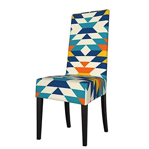 Stuhlhussen Bohemian Large Aztec Diamonds Blue Pattern Sitzschutz Stretch Dining Chair Schonbezug Sitzbezug für Stühle