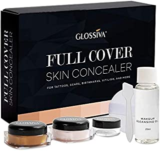 Glossiva Tattoo Concealer - Skin Concealer - Waterproof - For Dark Spots, Scars, Vitiligo, And More - Tattoo Cover-Up Make...