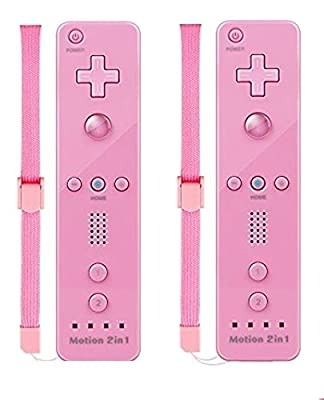 TheMax® WII U Remote Console Joystick Controller X2 Built in Motion Plus 2 in 1 Remote Multi Player Compatible With Nintendo Wii U Games Controller + FREE SILICONE COVER AND STRAP (Bright Pink)