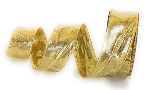 Konrad Arnold Schleifenband 25m x 40mm Gold Dekoband Goldband mit Drahteinlagen
