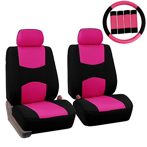 FH Group FB050102 Flat Cloth Seat Covers (Pink) Front Set with Gift – Universal Fit for Cars Trucks & SUVs