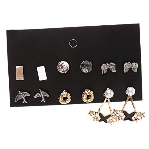 ZLININ Y-longhair - Juego de 6 pares de pendientes de aleación de metal para mujeres y niñas, aretes geométricos planos