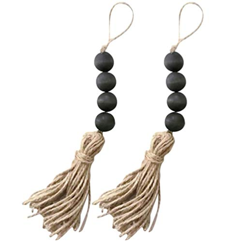 GUANG Banghai 2 Piece Wood Pearl Garland 8. 2 Inch Total Length Tassel Garland Decor Hanging Ornament Farmhouse Beads Garland Farm House Wall Decoration For Coffee Table Wall Window And