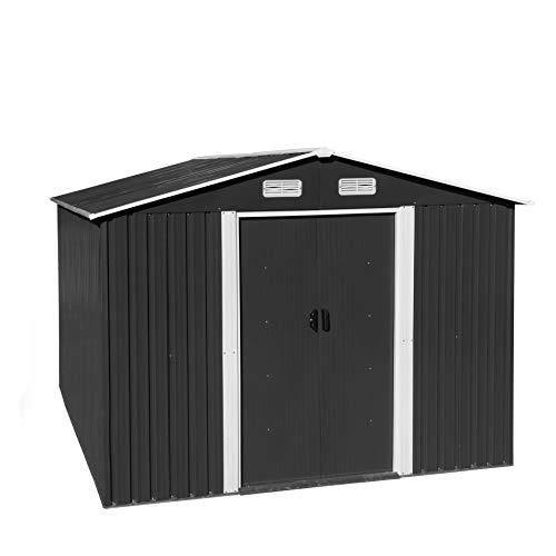 ESTEXO Geräteschuppen Gartenhaus Schuppen Gerätehaus Metall Metallgerätehaus mit Satteldach Fundament Schiebetür (257x300x178 cm/Anthrazit)