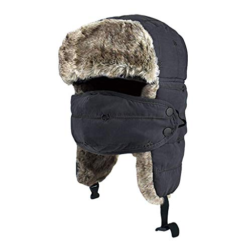 Atezch Men Women Winter Hat with Ear Flaps, Warm Lei Feng Caps Outdoor Thick Ski 3 in 1 Thermal Fur Lined Windproof Hat With Mask