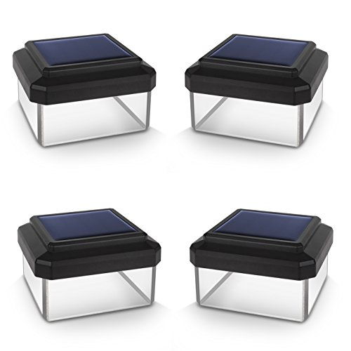 Green Blue GB126 LED Solarlampe Zaunpfahl Gartenlicht mit Dämmerungssensor Warmweiß 4000K Akku (Schwarz, 4 Stück 60x60 mm)