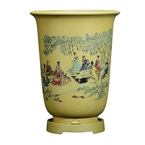 Amarillo Tiestos para Plantas de Ceramica con Orificio de Drenaje Hecho a Mano Macetas de Ceramica Pequenas para Decoración y Regalo de La Oficina En Casa Ø 23 cm x H 28.5 cm