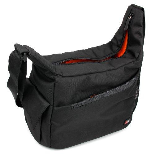 DURAGADGET Black & Orange Durable Shoulder 'Sling' Bag - Compatible with 360FLY 4 K Action Cam