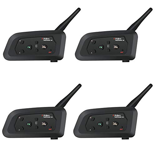 WYYHAA V4 BT 1200M Intercomunicador Moto Bluetooth, IP5 Impermeable Motocicleta Auricular Bluetooth con Micrófono Duro Cable De 4 Corredores Communicator Talk,D