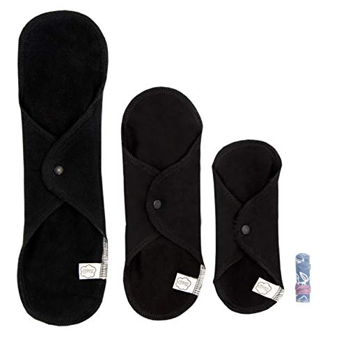 ImseVimse Trial Kit 3 compresas lavables y 1 tampón (Color: negro)