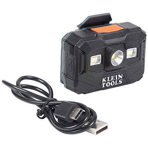 KLEIN TOOLS 56062 Rechargeable Headlamp and Worklight, LED Headlight for Klein Hardhats, 300 Lumen, All-Day Runtime, 3 Modes HIGH Low Boost