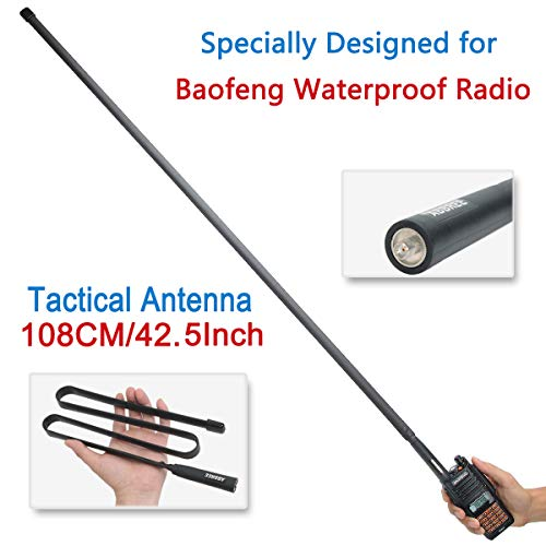 42.5-Inch Length ABBREE SMA-Female Dual Band 144/430Mhz Foldable CS Tactical Antenna for Baofeng UV-9R UV-XR BF-A58 UV-5S GT-3WP UV-5RWP Waterproof Two Way Radio