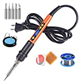 Soldering Iron Kit, 90W LCD Digital Soldering Gun, Portable Solder Iron with Adjustable Temperature Controlled and Fast Heating Ceramic Thermostatic Design, On/Off Switch, 9pcs Soldering Kit