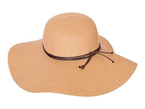 Chapeau d été pour femme Floppy Big Brim – Pliable – Large visière 12 cm – Idéal pour les vacances – Printemps été – Fabriqué au Panama Équateur - Beige - Medium
