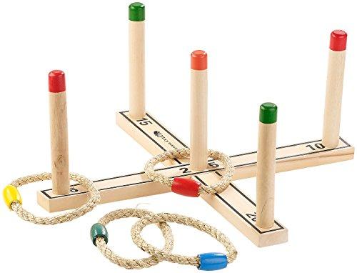 Playtastic Outdoor-Ringwurfspiel aus Holz mit 4 Wurfringen, 37 cm