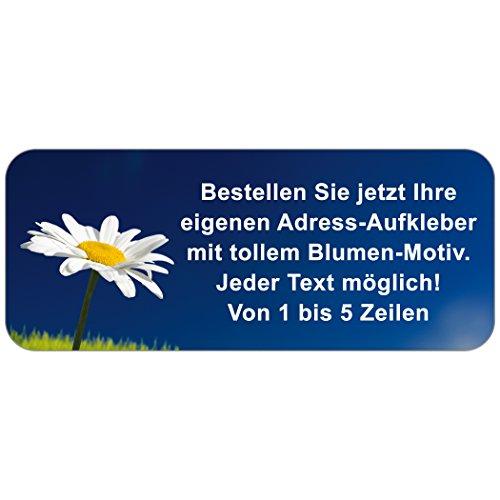 """Adress-Etiketten - Adress-Aufkleber\""""Blume\"""" mit Ihrem Wunschtext, 160 Stück, ca. 56 x 23 mm, für 1 bis 5 Zeilen Text"""