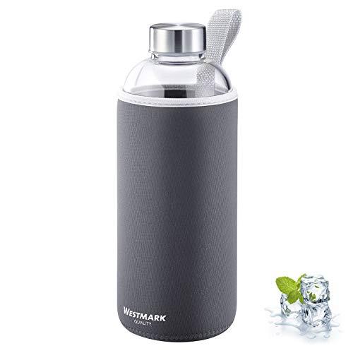 Westmark Trinkflasche, aus Glas mit Aufdruck, inkl. Schutzhülle, 1000 ml, Glas/Silikon/Kautschuk, BPA-frei, Viva, Anthrazit/Silber/Klar, 5274226A