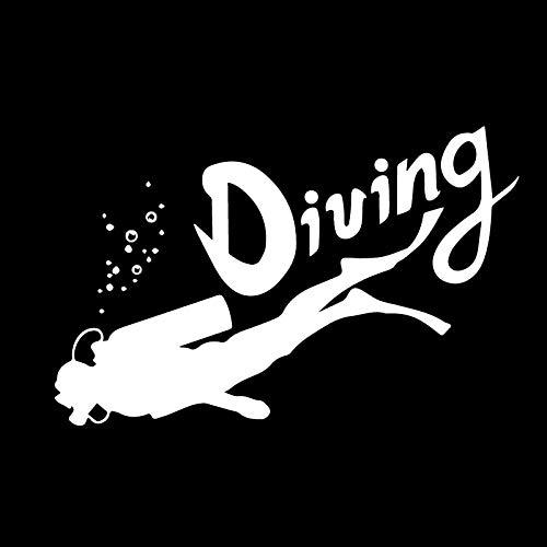 WZZA Valientes de los Deportes de Aventura de Buceo Valientes Decoración de automóvil Personalidad PVC calcomanías Impermeables Negro/Blanco, 17cm X 11cm (Color Name : White)