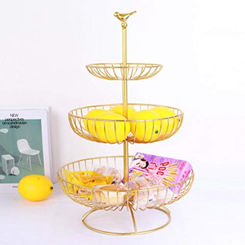 Fruit cake stand -3 verdiepingen metal fruitmand - Etageren met fruit kommen -Houdt Het eten vers, fruit gebak, brood snacks, Storage Rack,H