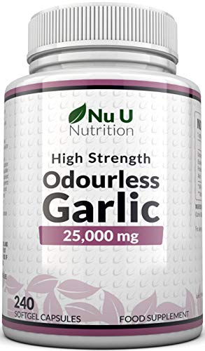 Garlic Capsules Odourless 25,000mg, 240 Softgel Capsules High Strength Garlic Supplement, 8 Month Supply - Deodourised Premium Garlic Oil Extract from Allium Sativum - Provides 6mg of Allicin