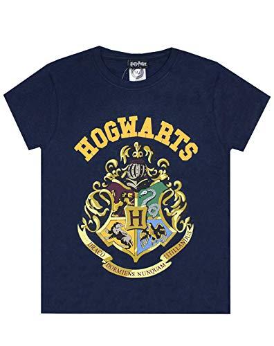 HARRY POTTER - Camiseta Oficial con Escudo de Hogwarts para niños y niñas (11-12 Años) (Azul)