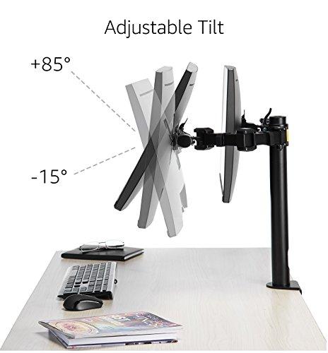 Amazon Basics Monitor-Halterung/Tragarm für 2Monitore, mit einstellbarer Höhe, 360-Grad-Drehung, einstellbarer Bildschirmneigung und Kabelorganizer, Stahl