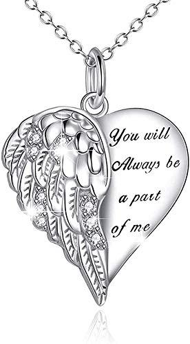BEISUOSIBYW Co.,Ltd Collar Regalos Alas de ángel Collar de corazón Collar de alas de Guardia Ngel para Mujeres Regalos de joyería