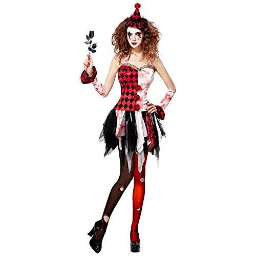 Widmann 11011689 Kostüm horror Harlekin, Damen, Rot/Weiß/Schwarz, L