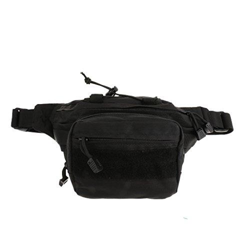 Tactique Militaire Imperméable Zipper Sacs Banane Sports Sac de Taille avec Ceinture Ajustable - Noir