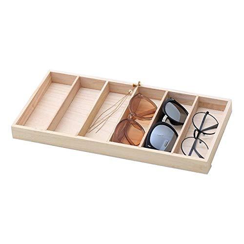 LUCYPAPASHOW Organizador Bandeja Gafas De Sol con 6 Compartimentos Caja Estuche De Madera Almacenamiento Expositor De Gafas
